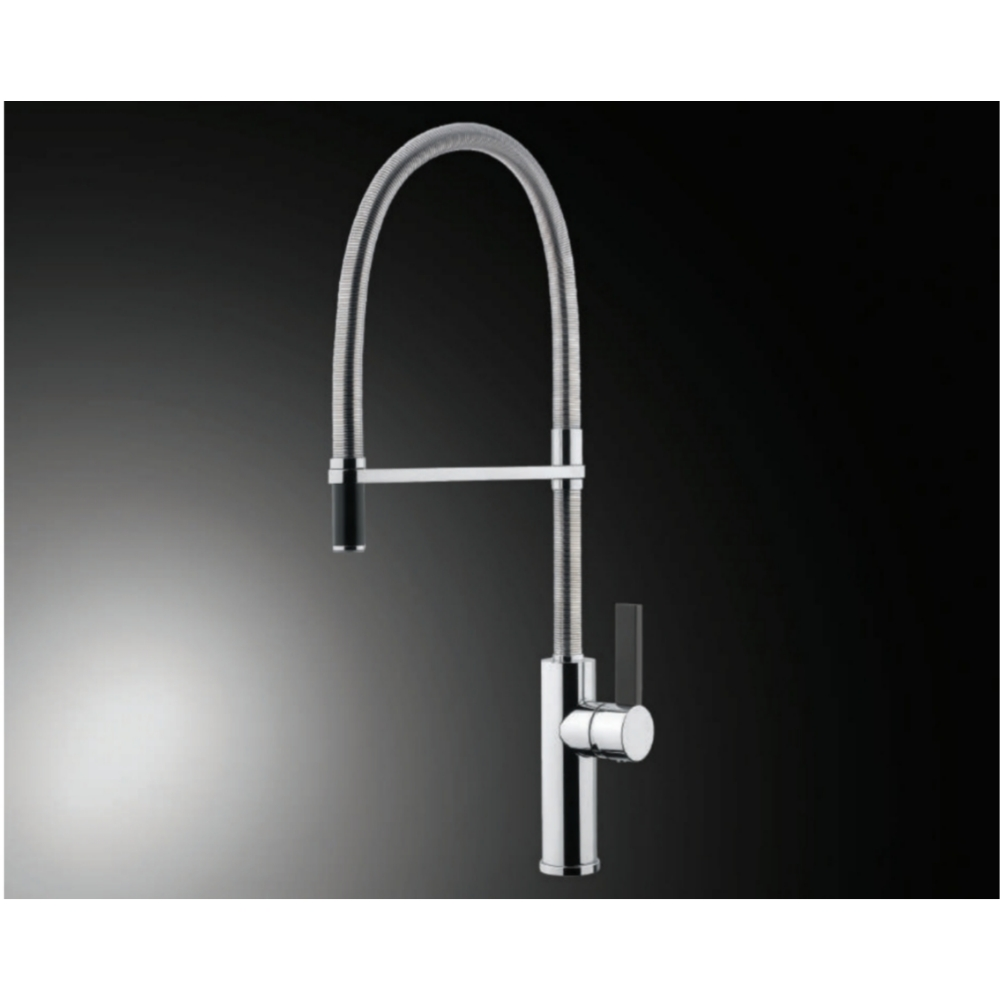 Hefele FLAMBE ROUND Deck Mounted Sink Mixer with Pullout-Silver -56624280