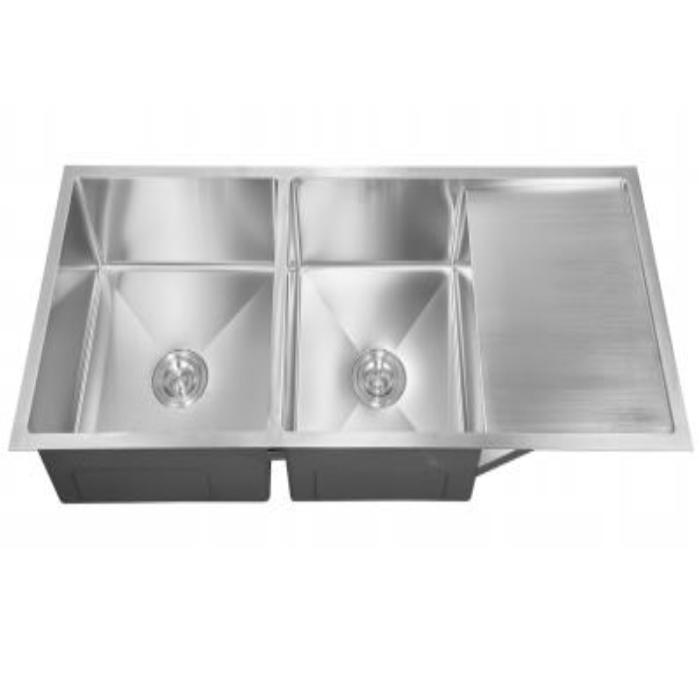 HOOTIC EXOTIC TUFF 46x20x9 SS304 Satin Double Bowl Sink With Drain Board