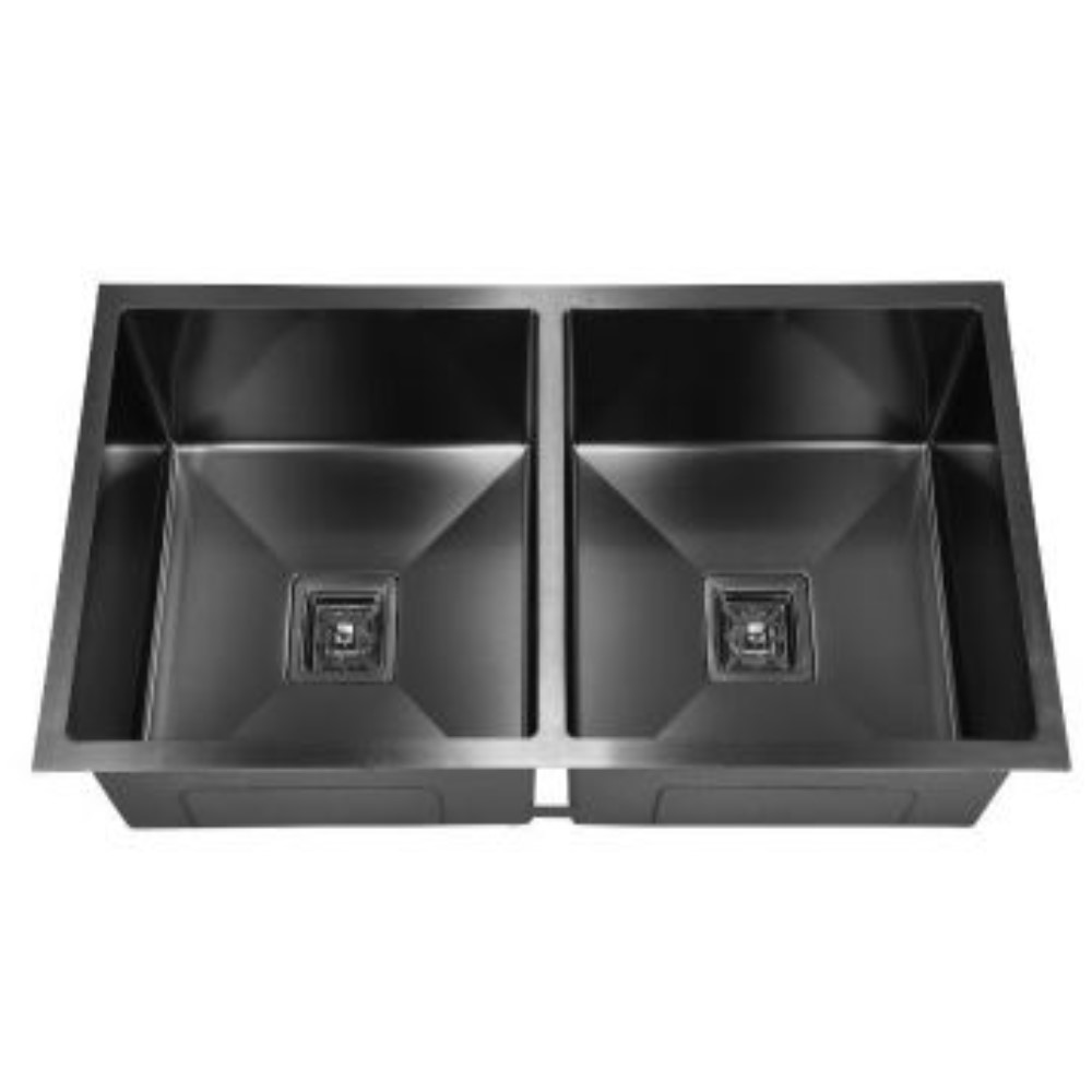 HOOTIC PEARL OPTRA 36x18x9 SS304 Black Double Bowl Sink