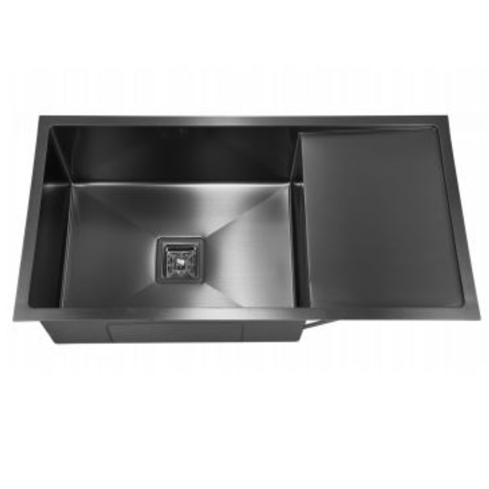 HOOTIC PEARL TUFF 36x18x9 SS304 Black Single Bowl Sink With Drain Board