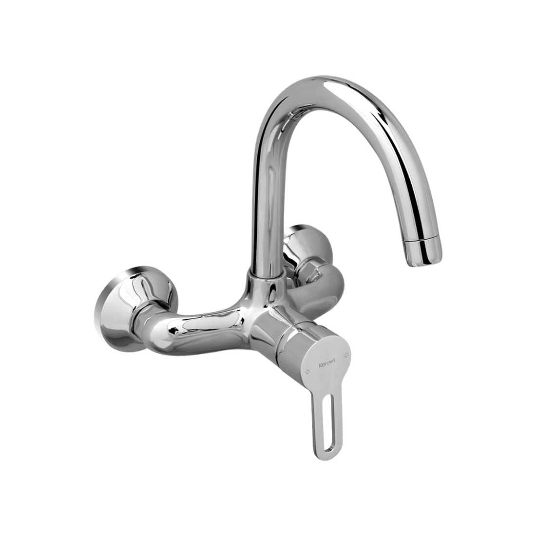 Kerovit Curve KB1711038 Single Lever Sink Mixer With Swivel Spout and Flange