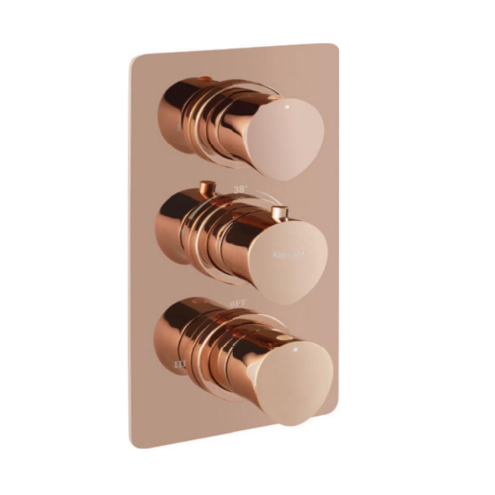 Aurum Aurius KB23THR002-RG 4 Outlet Con. Hi-Flow Thermostat Bath & Shower Mixer